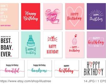 14 birthday day cards, printable birthday card, happy birthday, printable card, DIY, 5x7, JPG, EPS, instant download
