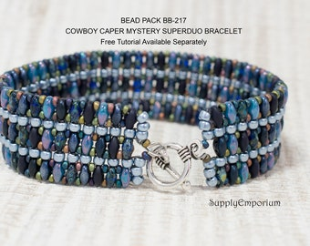 Bead Pack BB- 217 Cowboy Caper 'Mystery Superduo' Bracelet  - Tutorial Available Separately, Bead Pack BB217 Mystery Superduo Bracelet