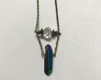 Colorful Iridescent Crystal Beaded Necklace