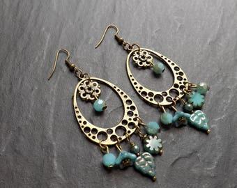 """anatole"" Czech glass and brass earrings"