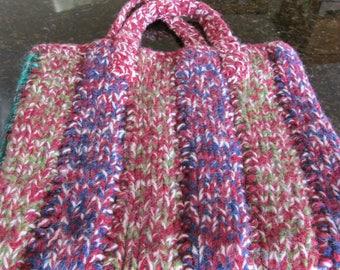 handmade knitted bag for shopping