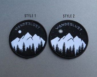 NEW STYLE for 2018. Wanderlust Patch (Two Styles) - Mountains, Trees and Moon - Iron on, Sew On