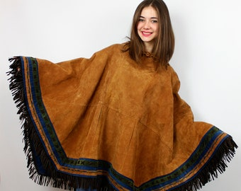 Lawless Revolution Handmade Mexican Shawl/Gypsy Capelet/Bohemian Scarf/Mexican Poncho Leather with hood oversize