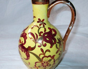 1889 J&E Mayer Warranted Stone China Jug / Ewer with Handle, Elaborate Gold Trim, Red Green Flowers