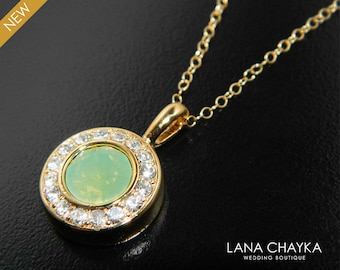 Green Opal Gold Necklace, Swarovski Chrysolite Green Opal Necklace, Wedding Mint Green Necklace, Bridal Necklace, Bridesmaid Green Necklace