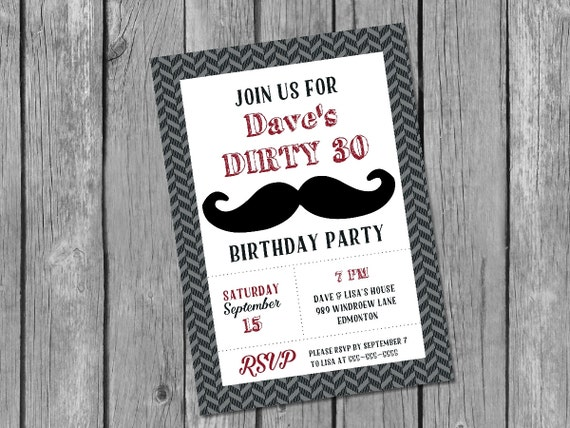 Printable male 30th birthday invitation dirty 30 invitation
