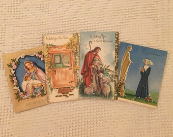 Vintage Get Well Card Lot, Religious Cards, Confirmation, Jesus, Mary, Madonna