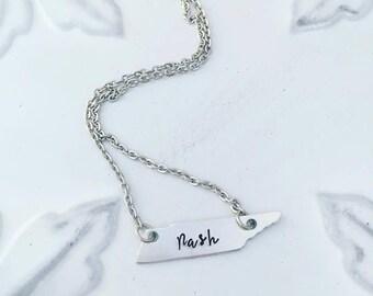 Nashville Tennessee Necklace - Nash Necklace - Tennessee Jewelry - Home Necklace - TN Necklace - TN Jewelry  Charm Necklace
