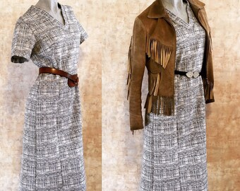 Vintage 60s Black Tan Gray Shift Dress  small medium