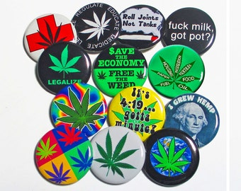 "CHOOSE A MAGNET - from this ""Baker's Dozen Pack #1"" of 2.25"" Large Fridge Magnets - 13 Cannabis Pot 420 Weed Related Marijuana Theme Designs"