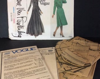 Vogue Sewing Pattern 1730 Diane Von Furstenberg 10 Pullover Dress Knit DVF
