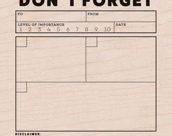 SALE! Don't Forget - Mounted Rubber Stamp