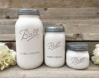 Mason jar Canister Set, Farmhouse Canister Set, Mason Jar Farmhouse Decor, Farmhouse Kitchen, Painted Mason Jar Canisters, Country Kitchen