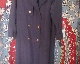 UTEX Womens vintage Trench coat blue size 10/winter /rain/lined/old school/polyester/