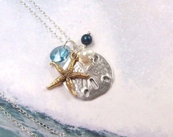 Gold Starfish Necklace, Silver Sand Dollar Necklace, Tropical Necklace, sterling silver, aqua, swarovski, blue, fashion, women