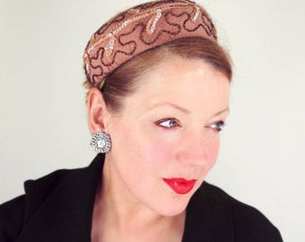 50s Brown Satin Pillbox Hat with Sequins and Beading - Valerie Modes