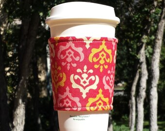 Coffee cup sleeve / coffee cozy / cup holder / coffee sleeve / fabric coffee cozy -- Royal wallpaper - Heather Bailey Freshcut Crest