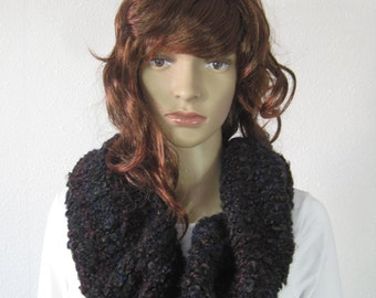 Handmade knitted scarf black multi color