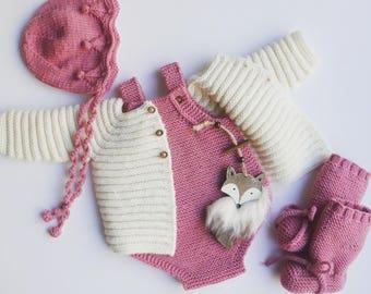Merino Baby romper -  handmade onesies - baby pants - newborn romper - baby overalls - newborn props - baby photo props -