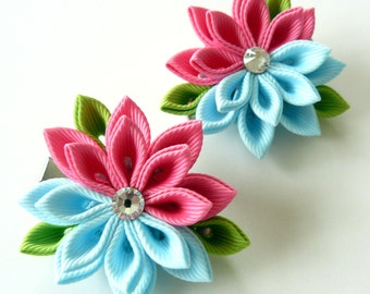 Kanzashi  Fabric Flowers. Set of 2 hair clips. Hot pink and light blue