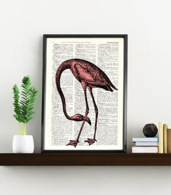 BOGO Sale Dictionary page book art print Flamingo Bird Print on Vintage Book altered art  page illustration book print ANI174