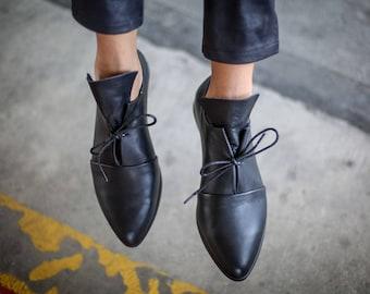 SALE, Leather Shoes, Black Shoes, Handmade Shoes, Winter Shoes, Black Leather Flats, Winter Flats, Oxfords, Black Tie Shoes Camila