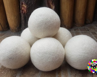 Wool Dryer Balls 6 Pc Extra Large Balls. Handmade, Natural and Ecofriendly