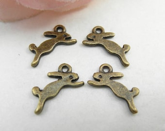 30pcs 8x14mm Cute Antique Brass Rabbit Charms Pendants Running  Bunny Charms