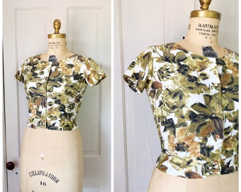 The Autumn Hour 1950s Short Sleeve Olive Green/White/Dark Green/Yellow/Orange/Brown Rose/Floral Print Blouse