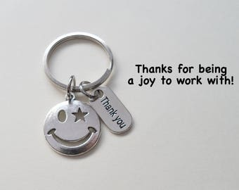Smiley Face Keychain, Employee Appreciation Gift,  Volunteer Gift, Employee Gift, Coworker Gift, Work Team Gift, Thank You Gift Teacher Gift