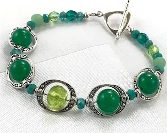 Shades of Green Floating Beaded Bracelet / Silver Bead Frames / Gift Idea