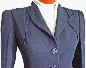 1940s Pinched Waist Wool Jacket Sz 8 Vintage Retro