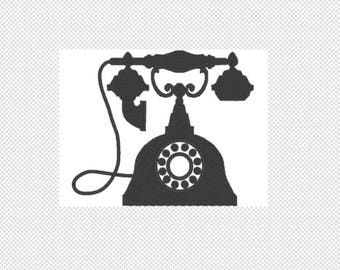 Solid vintage telephone Embroidery Design File - multiple formats - one color design - 4 sizes - instant download