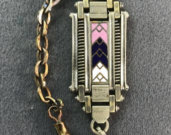 Art Deco Blue, Pink, and White Champleve Enamel Watch Fob and Chain-As is. Free shipping.