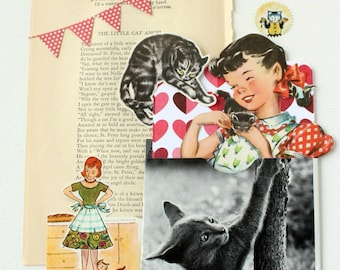 Cat Ephemera Pack, Feline Journal Embellishments, Kitty Scrapbook Supply, Old Vintage Paper For Smash Book, Mail Art and Collage Paper Bits