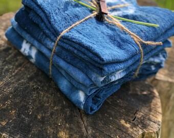 Set of 4 Indigo Dyed Napkins/Flour Sack Cloths