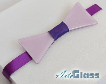 Bow tie handmade painted light violet with satin ribbon