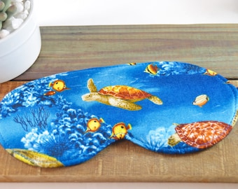Turtle Sleep Eye Mask, Unisex Spa Meditation Sleeping Cover, Ocean Sea Lover, Coral View, Adjustable Carribean Island Love Gift Her Him