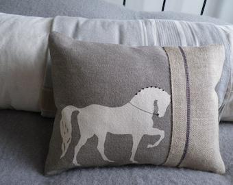 hand printed mink dressage horse cushion