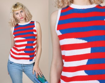 80s Color Block Knit Top - Large // Vintage Striped Red White & Blue Nautical Sweater Vest Tank