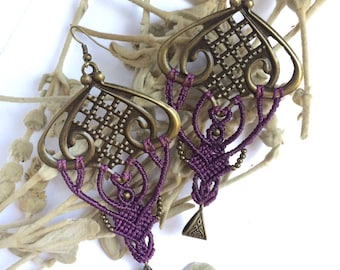 Boho earrings brass macrame dangles. Purple accessories for women. Boho french chic couture street urban style fashion jewelry