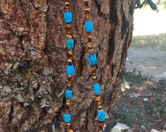 Healing Genuine Baltic amber and turquoise necklace