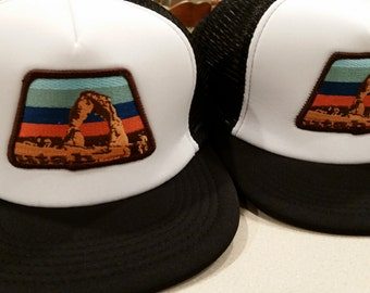 Black & White Trucker Hat - Delicate Arch Utah Patch