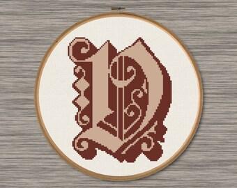 """Letter """"V"""" - PDF Cross Stitch Pattern,  Inspired by the font """"Dearest"""""""