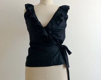 Yves Saint Laurent ruffled wrap black top