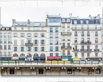 Paris Photography on Canvas - Across the Seine from Ile de la Cite, Gallery Wrapped Canvas, Architectural Urban Home Decor,Large Wall Art