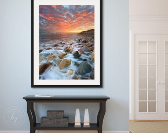 Large Framed Art, Coastal Seascape Photography, Vertical Wall Art, Rhode Island Beach Photo, Matunuck Beach Picture, Ocean Sunset Artwork