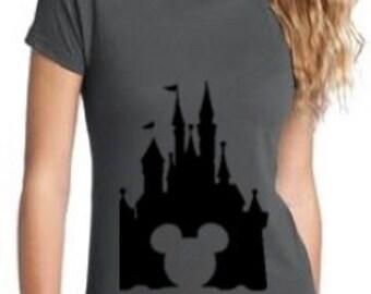 Disney Castle Mickey Head Women's Tee, Custom Disney Shirt, Disney Tee, Women's Cinderella Castle Tee