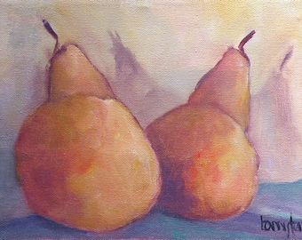 Original Oil Painting, Still Life, Pears, 10 x 8 Oil on Canvas.  Expedited Shipping.