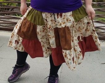 Custom colorful tiered skirt, knee length, with pockets
